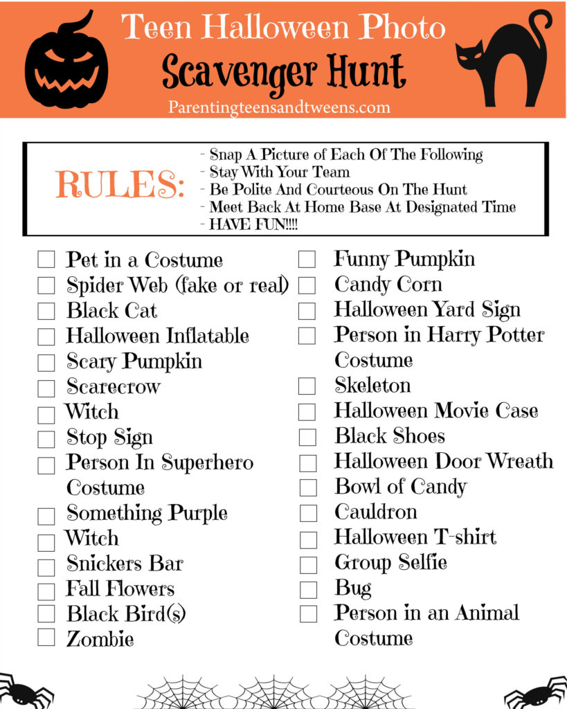 Tween and Tween Halloween Photo Scavenger Hunt Printable